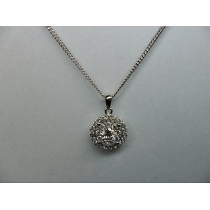 Double Circle Halo Pendant White Gold