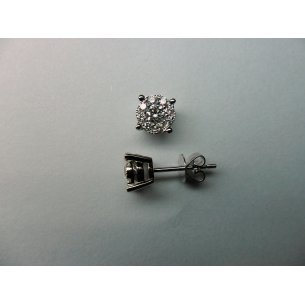 Halo Ear Studs White Gold