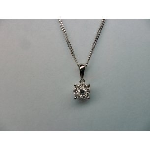 Halo Solitaire Pendant White Gold