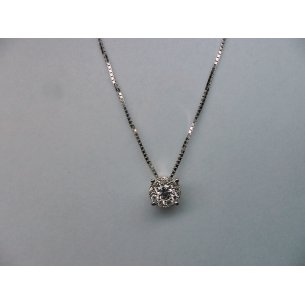 Halo Solitaire Pendant No Eye White Gold