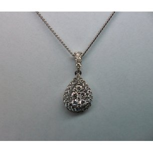 Pear Shape Halo Pendant White Gold
