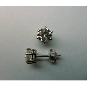 White Gold Solitaire Ear Studs 2 - 2.00 crt.